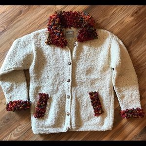 Bolivian Imports Wool Button Up Sweater, Med.
